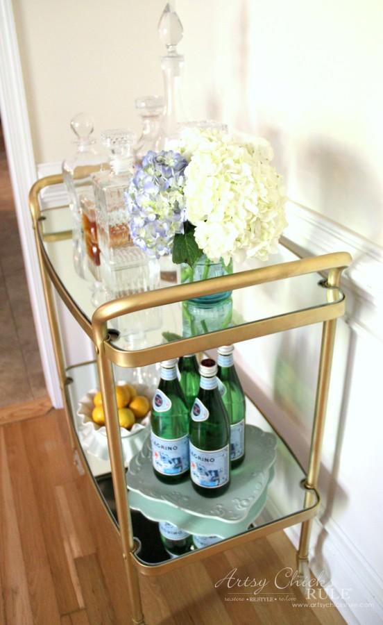 Beverage Cart Goes Glam (Trash to Treasure) - AFTER SIDE SHOT - artsyhchicksrule #beveragecart