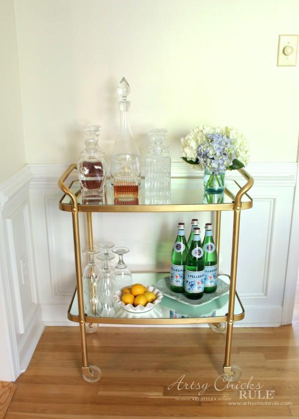 Beverage Cart Goes Glam (Trash to Treasure) - AFTER Thrifty Makeover - artsyhchicksrule #beveragecart