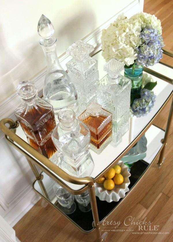 Beverage Cart Goes Glam (Trash to Treasure) - AFTER with mirrored shelves - artsyhchicksrule #beveragecart
