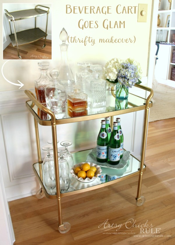 Beverage Cart Goes Glam (Trash to Treasure) - BEFORE AFTER - artsyhchicksrule #beveragecart