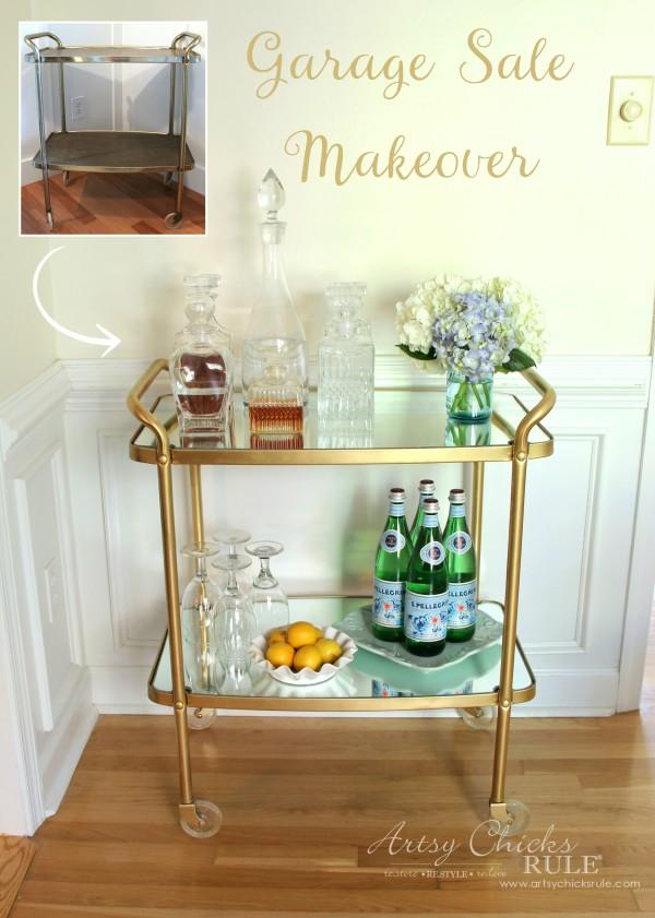 Beverage Cart Goes Glam (Trash to Treasure) - BEFORE and AFTER - artsyhchicksrule #beveragecart