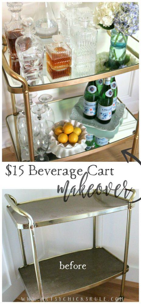 Beverage Cart Goes Glam (Trash to Treasure) - BEFORE AFTER - artsyhchicksrule #beveragecart