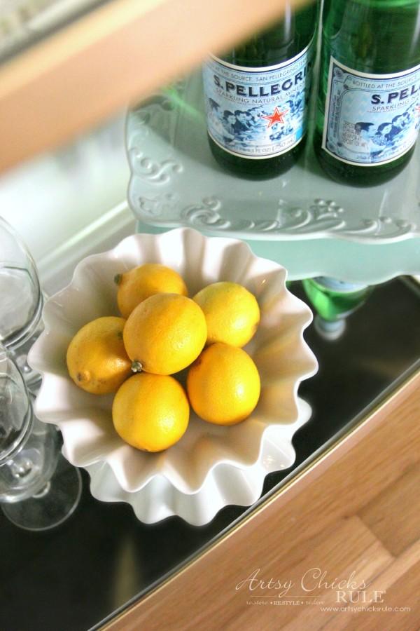 Beverage Cart Goes Glam (Trash to Treasure) - Lemon Bowl - artsyhchicksrule #beveragecart