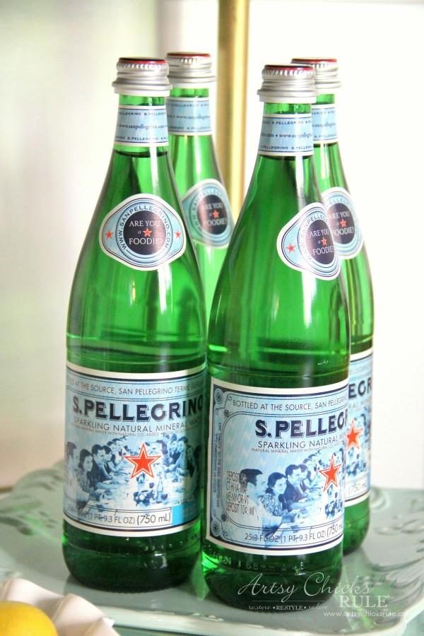 Beverage Cart Goes Glam (Trash to Treasure) - Pellegrino Water - artsyhchicksrule #beveragecart