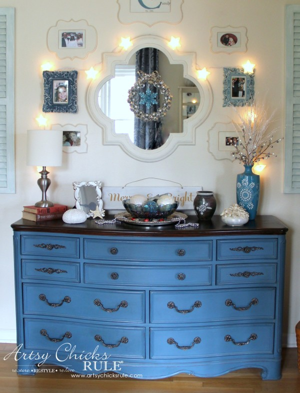 Christmas Home Tour 2015 - Aubusson Blue Dresser - artsychicksrule.com #christmashometour