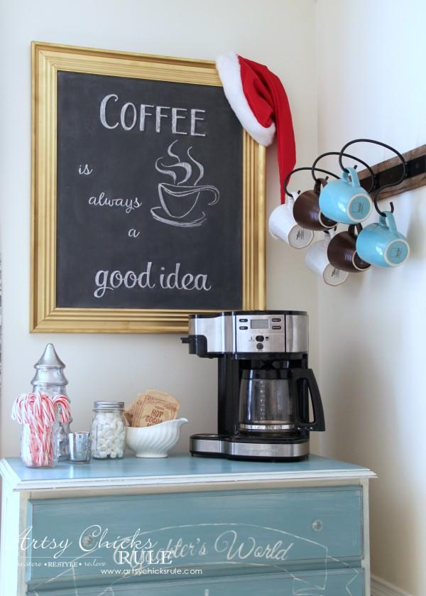 Christmas Home Tour 2015 - Holiday Coffee and Cocoa Bar - artsychicksrule.com #christmashometour
