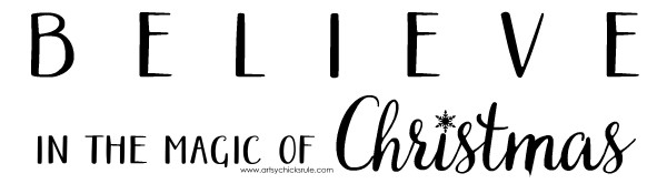 DIY Believe in the Magic of Christmas Sign - Free Printable - #artsychicksrule #Christmassign #believesign