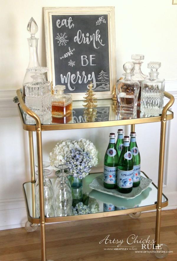 Eat, Drink and BE Merry Chalk Art - Bev Cart Decor -#artsychicksrule #freeprintable #eatdrinkbemerry