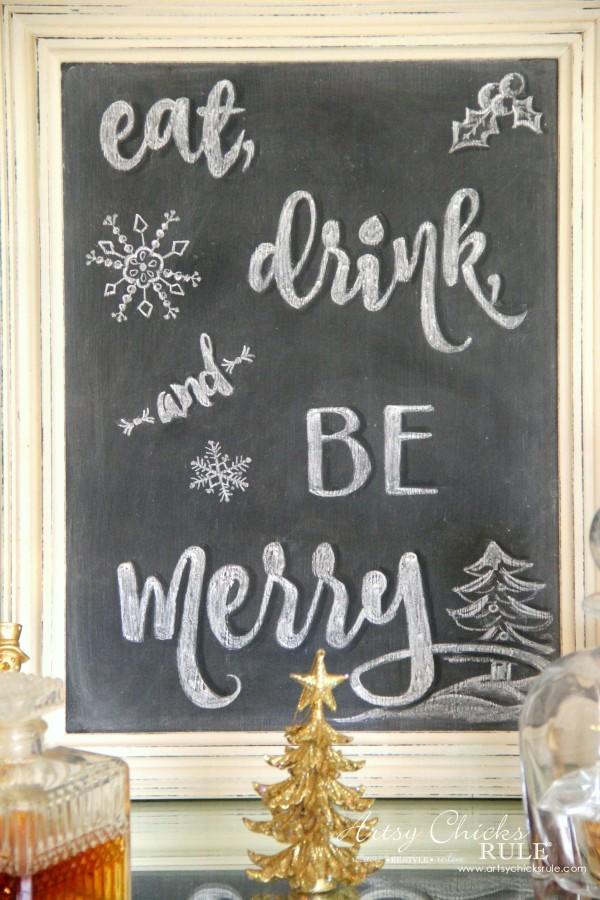 Eat, Drink and BE Merry Chalk Art - Chalkboard ART -#artsychicksrule #freeprintable #eatdrinkbemerry