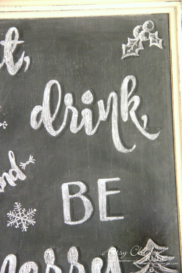 Eat, Drink and BE Merry Chalk Art - Shadowing details -#artsychicksrule #freeprintable #eatdrinkbemerry