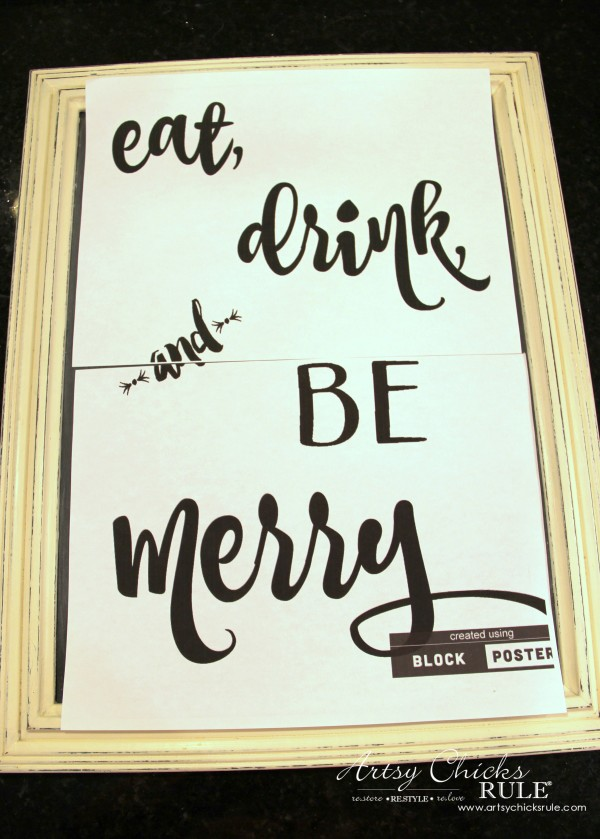 Eat, Drink and BE Merry Chalk Art - Tranferring Image -#artsychicksrule #freeprintable #eatdrinkbemerry