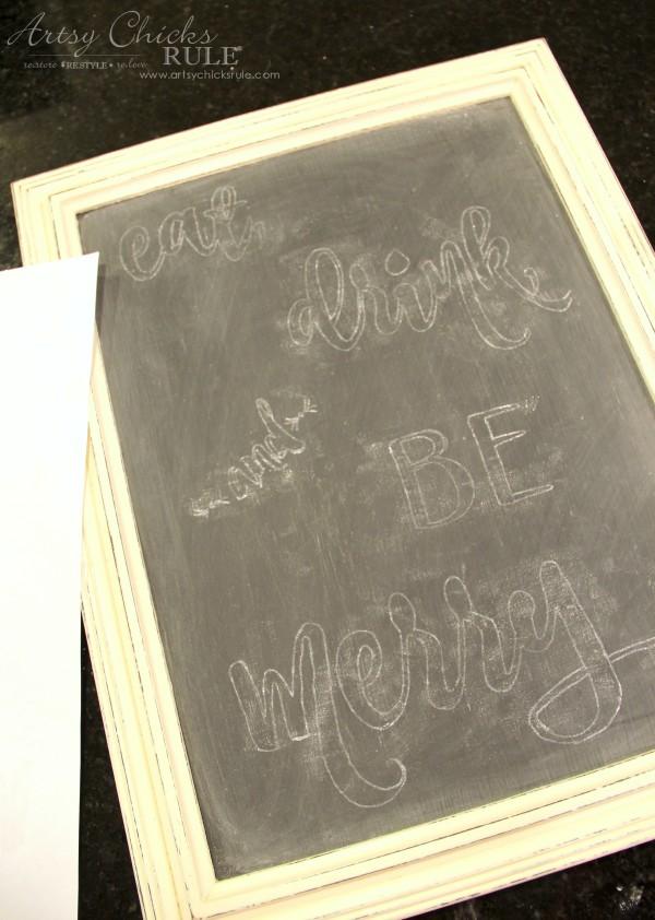 Eat, Drink and BE Merry Chalk Art - Transferred Image -#artsychicksrule #freeprintable #eatdrinkbemerry