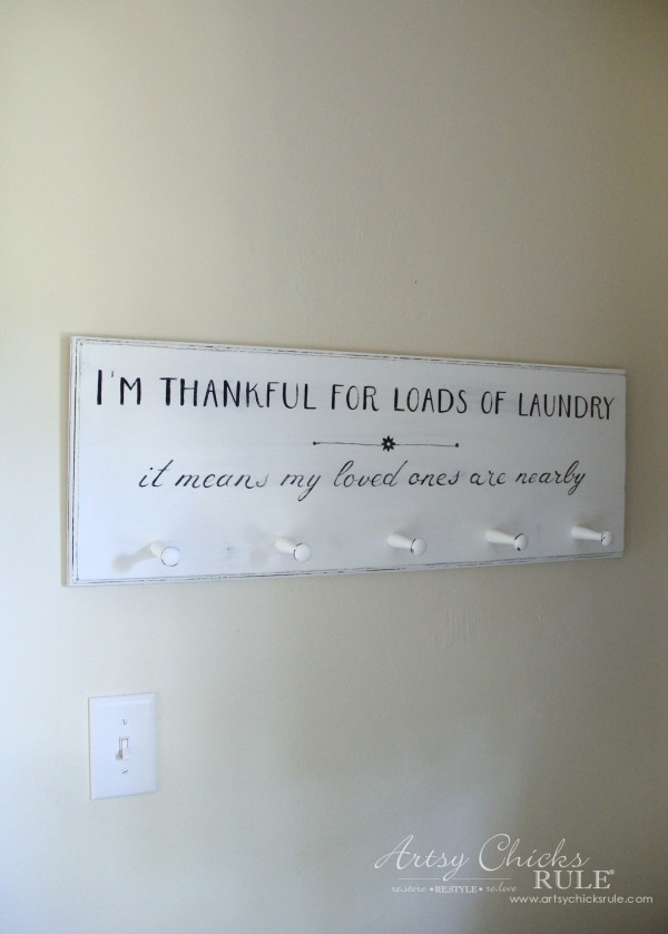 DIY Laundry Sign - thrift store makeover - AFTER - artsychicksrule.com #laundrysign