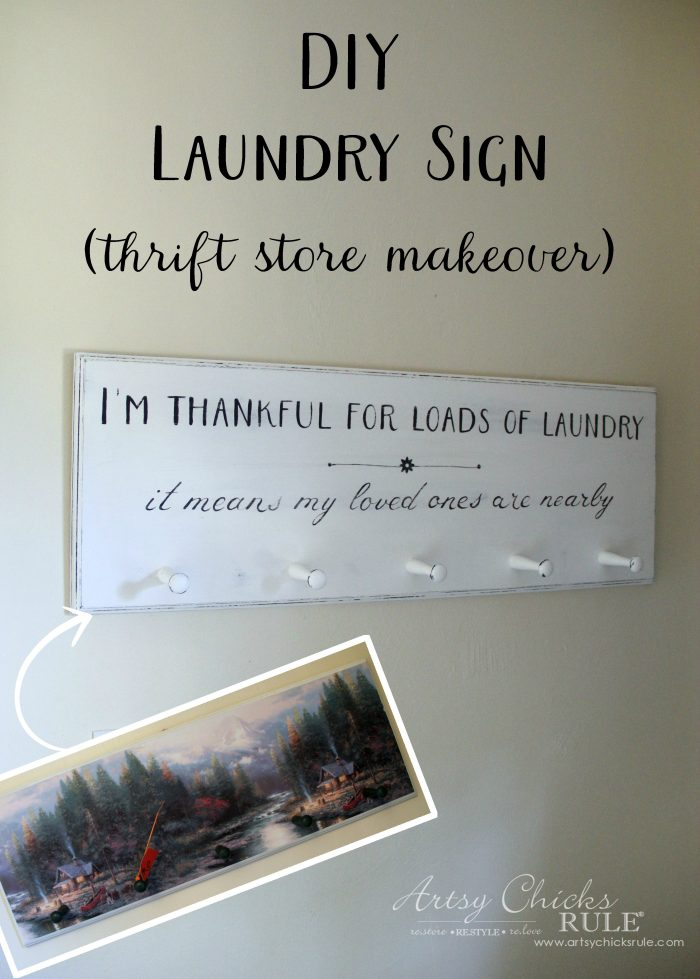 DIY Laundry Sign (thrift store makeover) - Artsy Chicks Rule®