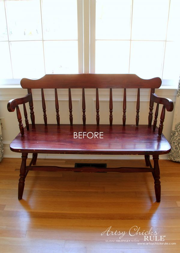 French Poem White Bench Makeover - BEFORE Front - #frenchfurniture #whitebench #makeover artsychicksrule