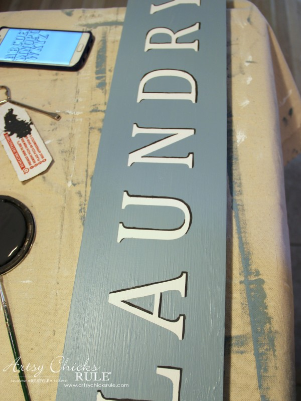 Antiqued Laundry Sign - adding shadow - artsychicksrule #laundrysign #diylaundrysign