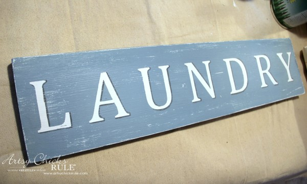 Antiqued Laundry Sign - with shadows - artsychicksrule #laundrysign #diylaundrysign