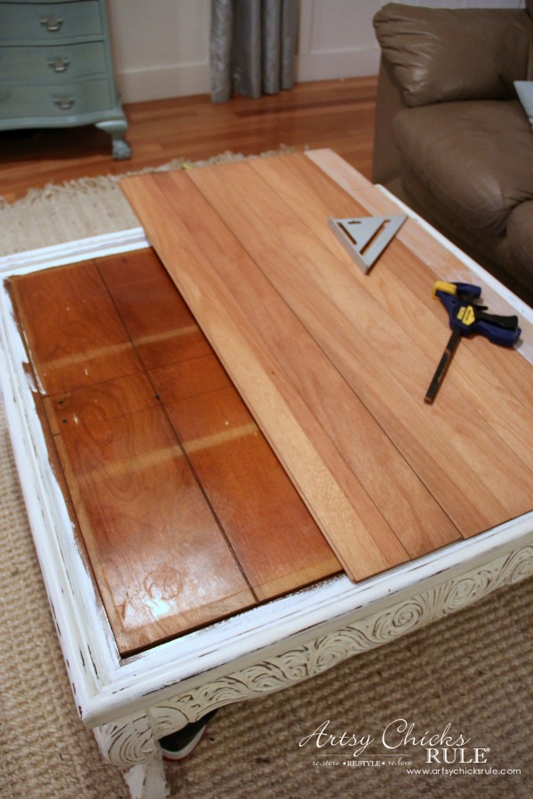 Coffee Table Makeover Using Old Flooring - measuring - artsychicksrule # coffeetable - Coffee Table Makeover (Driftwood Finish) - Artsy Chicks Rule®