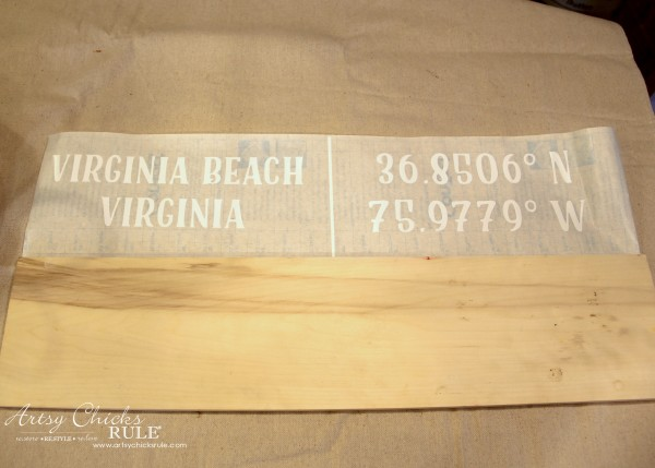 DIY Coordinates Sign - Old board - artsychicksrule #silhouette #diy #sign #coastaldecor