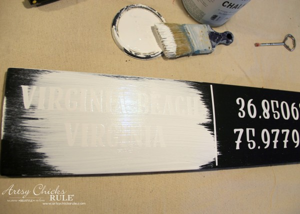 DIY Coordinates Sign - paint over the lettering - artsychicksrule #silhouette #diy #sign #coastaldecor