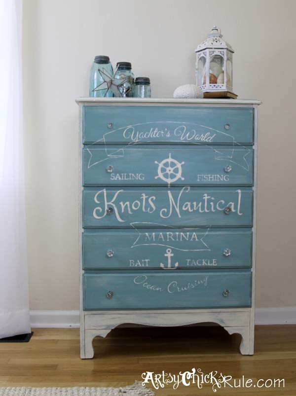 Thrift Store Dresser- Custom Graphics- Annie Sloan Chalk Paint- Provence