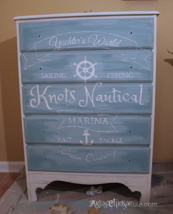Thrift Store Dresser - Custom Graphics- Old White Pure White Chalk Paint Blend with Provence - Sanded and Distressed