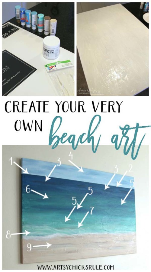 DIY Beach Painting - CREATE YOUR VERY OWN - artsychicksrule.com