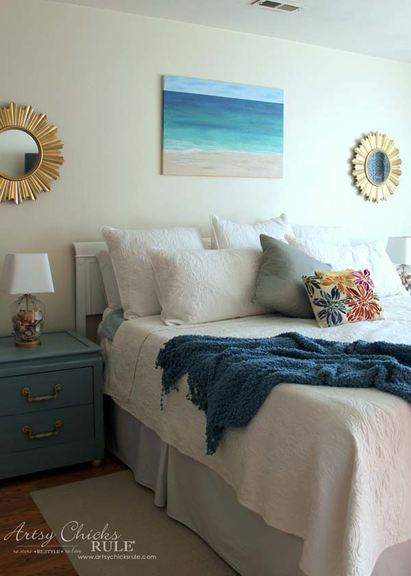 DIY Beach Painting - coastal bedroom and mostly DIY - artsychicksrule.com