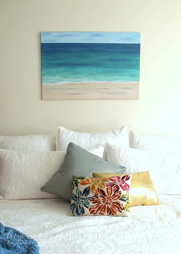 DIY Beach Painting - straight on view - artsychicksrule.com