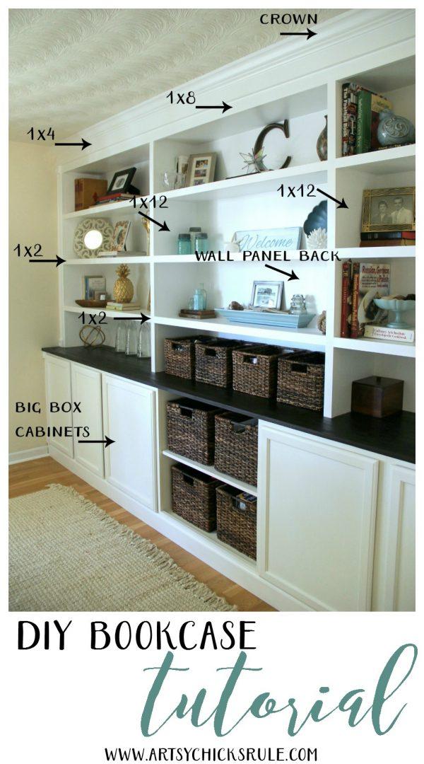DIY Bookcase Tutorial - STEPS TO MAKE - artsychicksrule.com #DIYBookcase #Bookcase