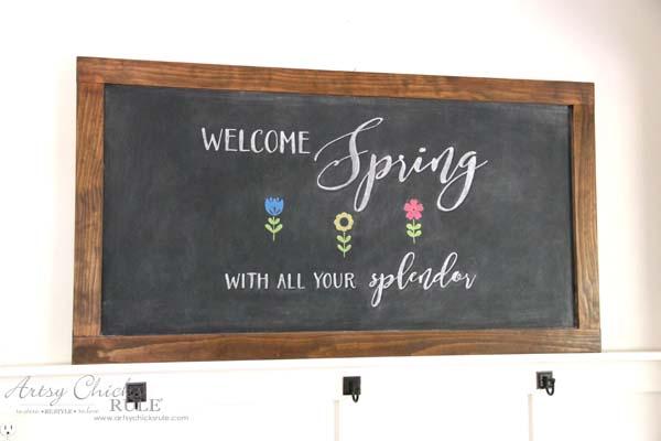 DIY Farmhouse Inspired Chalkboard - EASY Spring Chalk Art - artsychicksrule