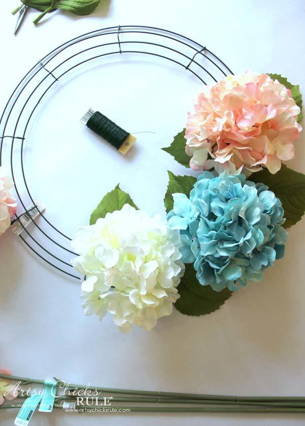 DIY Hydrangea Wreath - Adding Hydrangea - artsychicksrule