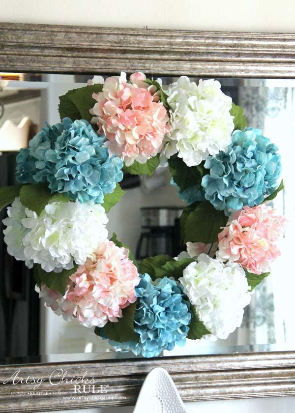 DIY Hydrangea Wreath - Colorful Spring Wreath - artsychicksrule.com #hydrangeawreath