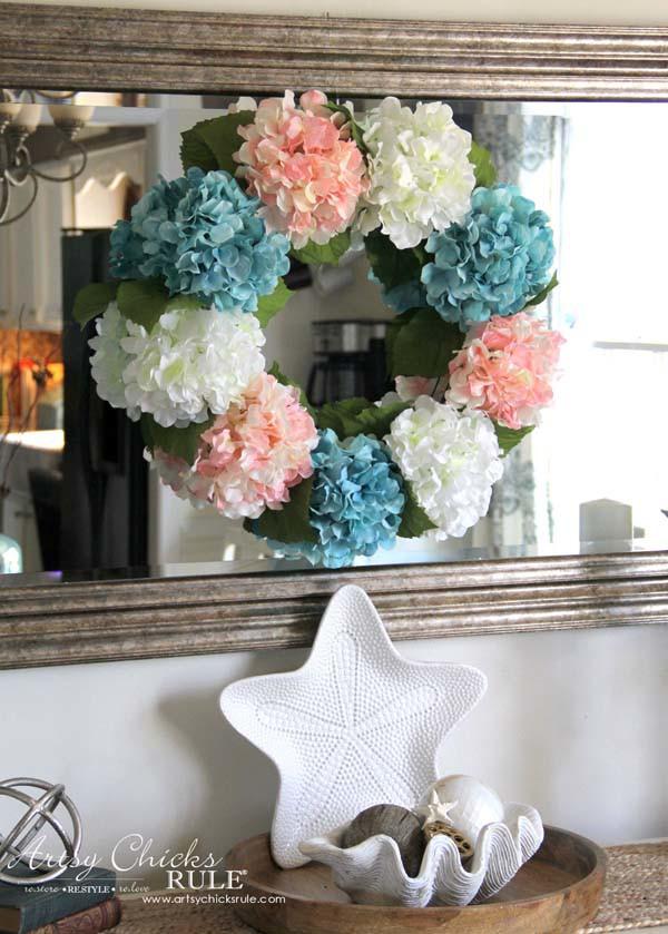 DIY Hydrangea Wreath - Easy Spring Wreath - artsychicksrule.com #hydrangeawreath