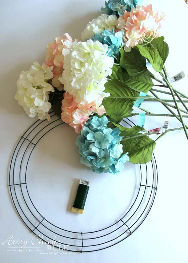 DIY Hydrangea Wreath - Materials Needed - artsychicksrule