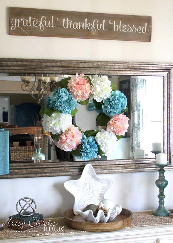DIY Hydrangea Wreath - SIMPLE DIY - artsychicksrule.com #hydrangeawreath