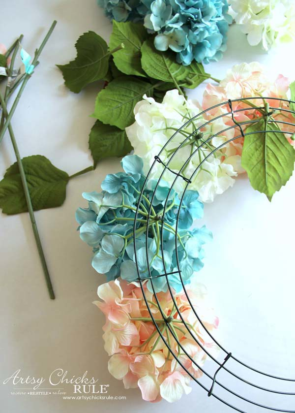 DIY Hydrangea Wreath - Using wire to add hydrangea - artsychicksrule