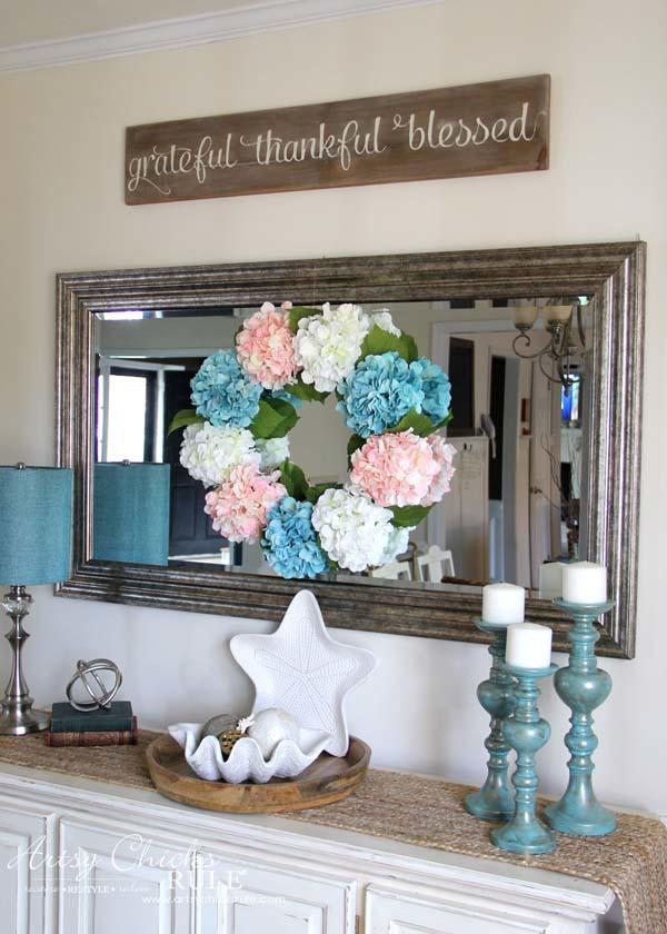 DIY Hydrangea Wreath - on dining room mirror - artsychicksrule.com #hydrangeawreath