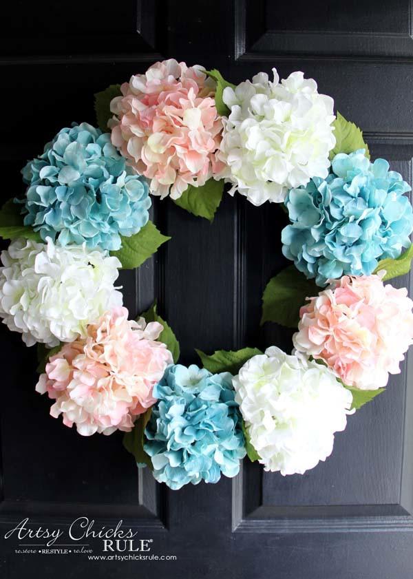 DIY Hydrangea Wreath - on front door - artsychicksrule.com #hydrangeawreath