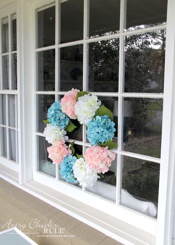 DIY Hydrangea Wreath - on large picture window - artsychicksrule
