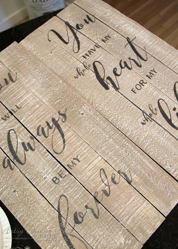 DIY Weathered Love Signs - SLIGHT DISTRESSING - artsychicksrule #drybrush #chalkpaint #lovesign