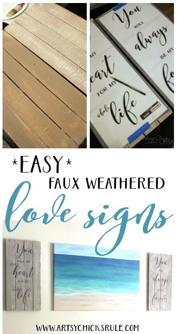 DIY Weathered Love Signs - SUPER EASY DIY - artsychicksrule #drybrush #chalkpaint #lovesign