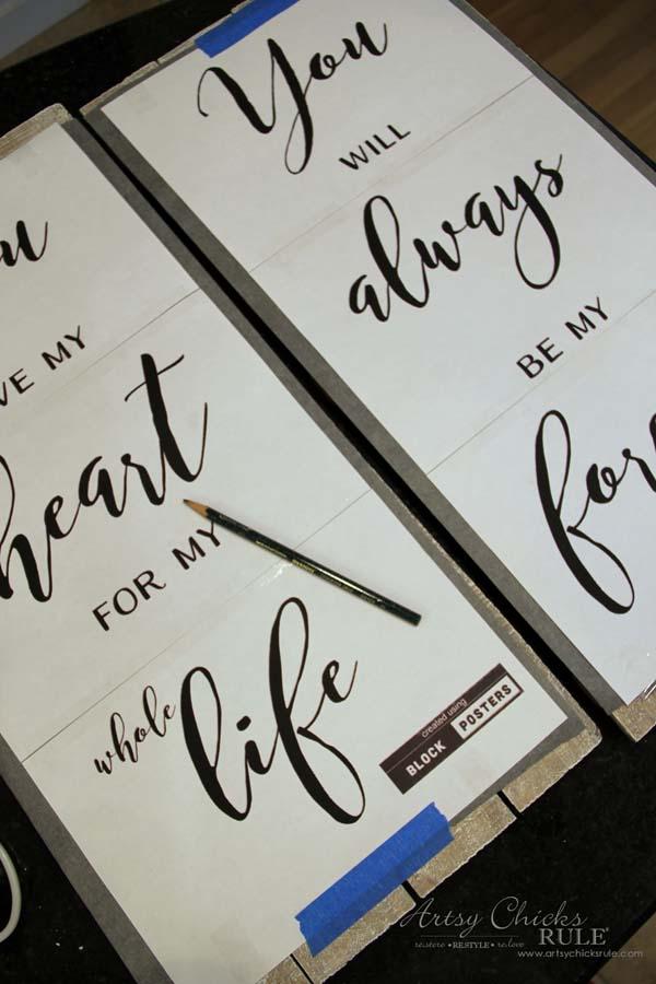 DIY Weathered Love Signs - plus FREE printables - artsychicksrule #drybrush #chalkpaint #lovesign