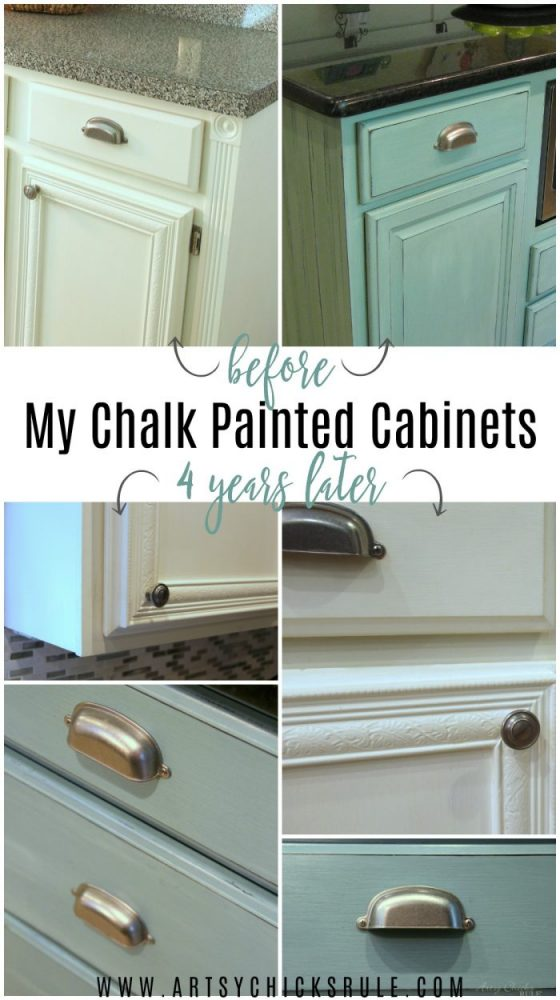 My Chalk Painted Cabinets - 4 Years Later - HOW DID THEY DO? COME SEE!!! artsychicksrule.com