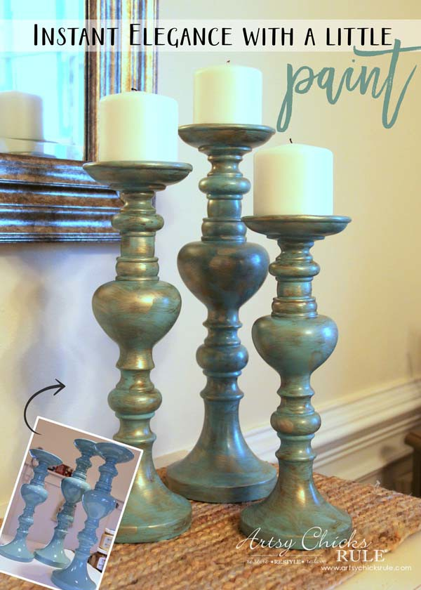 Painted Candlesticks - AFTER with paint - artsychicksrule