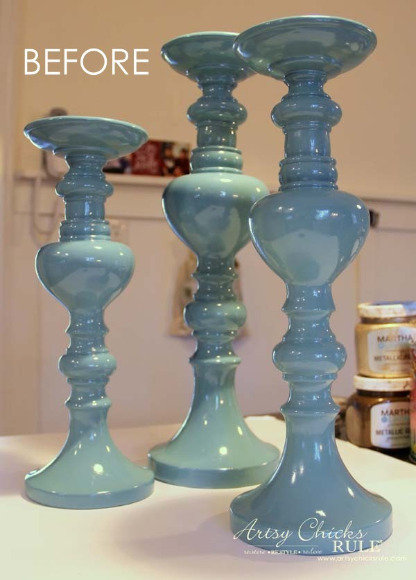 Painted Candlesticks - BEFORE again - artsychicksrule