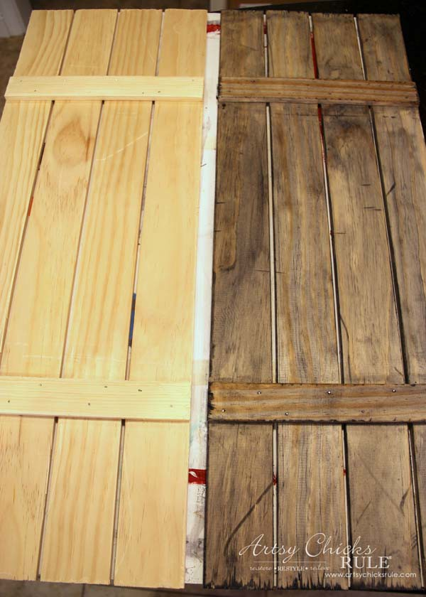 DIY Weathered Wood Shutters Farmhouse Style Artsy Chicks Rule