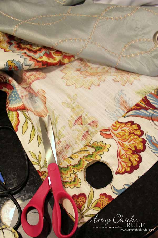 How To Make No Sew Curtains with Grommets - Cutting for Grommets - artsychicksrule #nosewcurtains #grommets