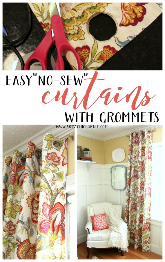 How To Make No Sew Curtains with Grommets - SUPER EASY PROJECT - artsychicksrule #nosewcurtains #grommets