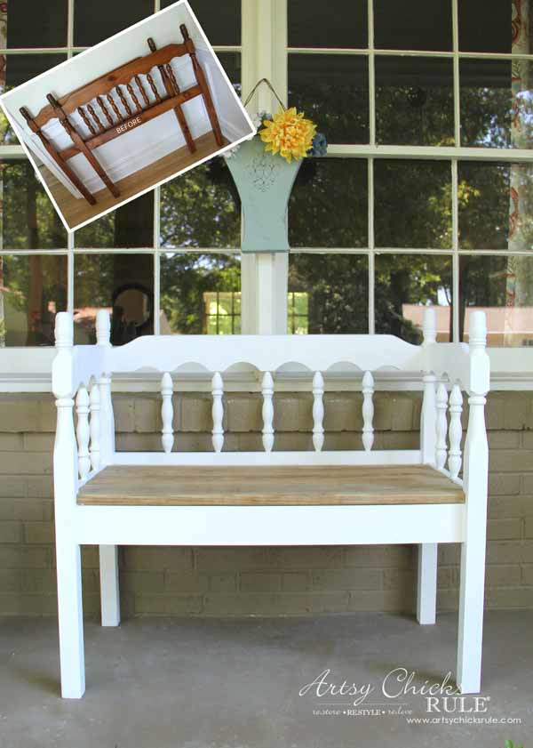 DIY Headboard Bench - BEFORE AND AFTER - artsychicksrule.com #headboardbench